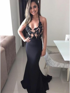 Mermaid Halter Backless Long Black Prom Dress with Appliques