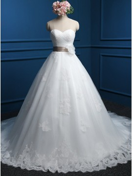 A-Line Sweetheart White Wedding Dress with Appliques Flower Sashes
