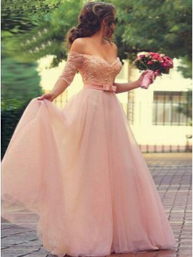 A-Line Off-the-Shoulder Pink Tulle Prom Dress with Appliques Bowknot