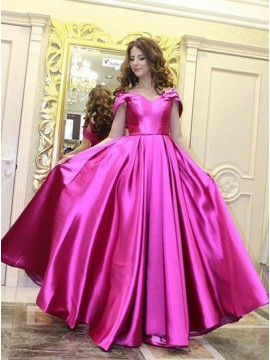 A-Line Off-the-Shoulder Sweep Train Pleated Fuchsia Satin Prom Dress