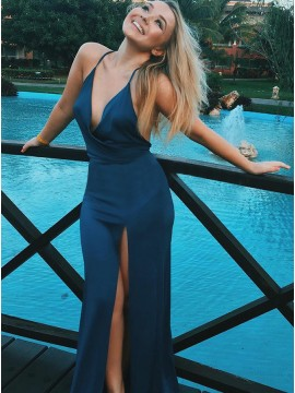Mermaid Spaghetti Straps Criss-Cross Straps Blue Stretch Satin Prom Dress