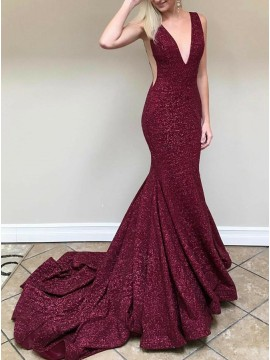 Mermaid Deep V-Neck Backless Sweep Train Burgundy Sequined Prom Dress