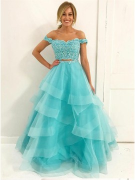 Two Piece Off-the-Shoulder Floor-Length Turquoise Prom Dress with Appliques