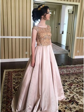 A-Line Round Neck Cap Sleeves Floor-Length Prom Dress with Beading