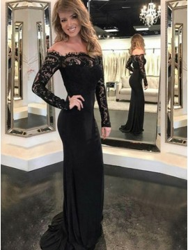 Mermaid Off-the-Shoulder Long Sleeves Black Prom Dress with Lace