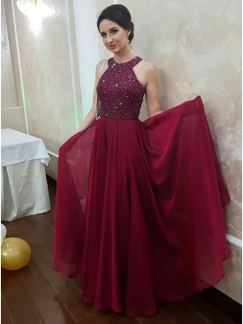 A-Line Jewel Sleeveless Floor-Length Burgundy Chiffon Prom Dress with Beading