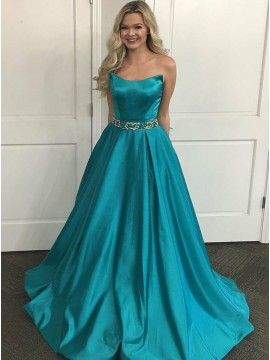 A-Line Strapless Sweep Train Turquoise Satin Prom Dress with Beading Pockets