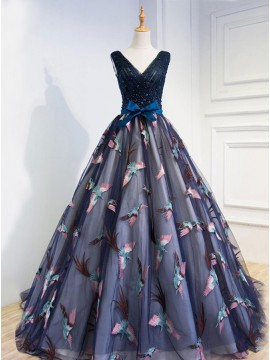A-Line Lace-Up Dark Blue Tulle Prom Dress with Beading Appliques