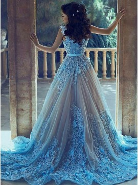 A-Line V-Neck Court Train Blue Tulle Prom Dress with Appliques