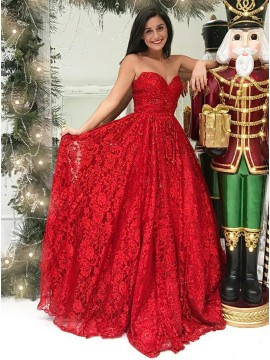 A-Line Sweetheart Sweep Train Red Lace Prom Dress with Beading
