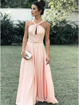 A-Line Cross Neck Floor-length Pink Chiffon Prom Dress with Keyhole