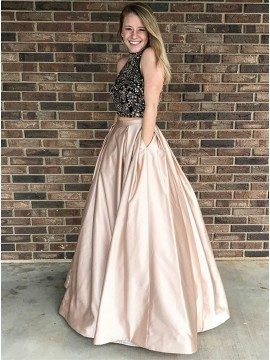Two Piece Jewel Open Back Floor-Length Champagne Prom Dress with Beading Pockets