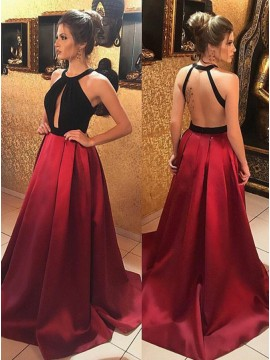 A-Line Jewel Backless Sweep Train Burgundy Satin Prom Dress with Keyhole
