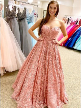 A-Line Sweetheart Floor-Length Pink Lace Prom Dress with Beading