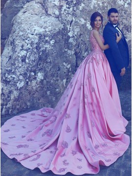 Ball Gown Straps Court Train Pink Satin Prom Dress with Appliques Pockets