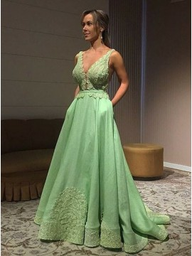 A-Line V-Neck Sweep Train Green Prom Dress with Appliques Pockets