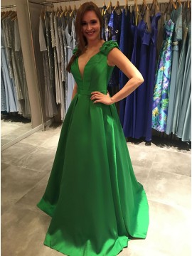 A-Line V-Neck Sweep Train Green Satin Prom Dress with Pockets