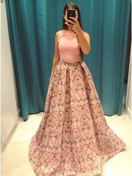 Two Piece Spaghetti Straps Sweep Train Floral Prom Dress with Pockets