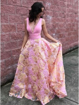 Amazing Deep V-Neck Open Back Pink Party Dress Long Floral Prom Dress