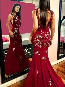Mermaid Round Neck Sweep Train Dark Red Prom Dress with Appliques