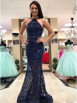 Mermaid Bateau Backless Floor-Length Navy Blue Lace Prom Dress with Sequins