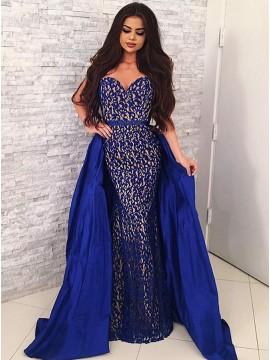 Mermaid Sweetheart Floor-Length Royal Blue Lace Detachable Prom Dress