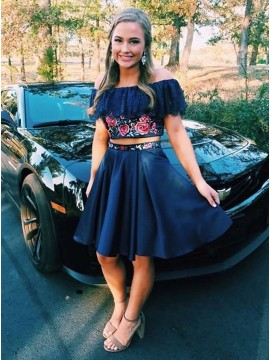 Two Piece Off-the-Shoulder Short Navy Blue Prom Dress with Lace Appliques