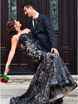Mermaid Sweetheart Sweep Train Black Lace Prom Dress with Sequins