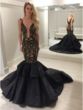 Mermaid Scoop Sweep Train Black Satin Prom Dress with Lace
