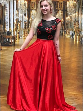 Two Piece Round Neck Open Back Red Prom Dress with Appliques