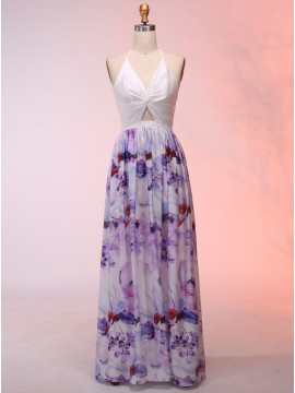 A-Line Halter Backless Floor-Length Floral Prom Dress with Keyhole
