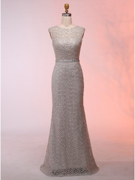 Mermaid Round Neck Floor-Length Champagne Lace Prom Dress with Sequins