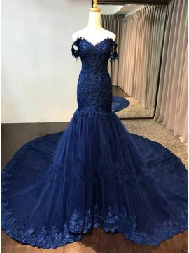 Mermaid Off-the-Shoulder Court Train Blue Prom Dress with Appliques