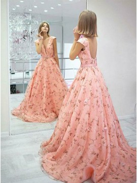 A-Line Bateau Cap Sleeves Backless Sweep Train Floral Prom Dress