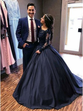 Ball Gown Off-the-Shoulder Long Sleeves Navy Blue Prom Dress with Appliques