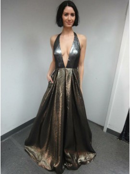 A-Line Halter Backless Long Metallic Magic Prom Dress with Pockets