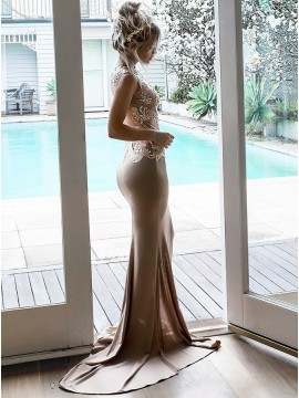 Mermaid Jewel Open Back Sweep Train Champagne Prom Dress with Appliques