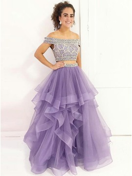 Two Piece Off-the-Shoulder Floor-Length Prom Dress with Beading