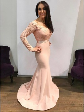 Mermaid Square Neck Long Sleeves Pink Prom Dress with Lace