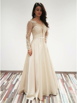 A-Line Round Neck Long Sleeves Ivory Satin Prom Dress with Appliques