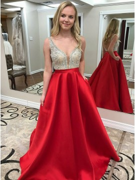 A-Line V-Neck Backless Sweep Train Red Satin Prom Dress with Pockets
