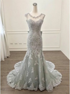 Mermaid Round Neck Backless Watteau Grey Prom Dress with Appliques Bowknot