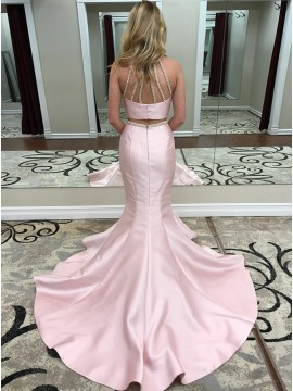 Two Piece Jewel Sweep Train Pink Prom Dress with Beading