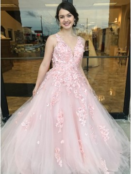 A-Line Bateau Open Back Pink Prom Dress with Appliques Sequins