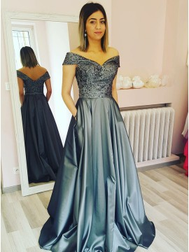 A-Line Off-the-Shoulder Floor-Length Dark Grey Prom Dress with Sequins
