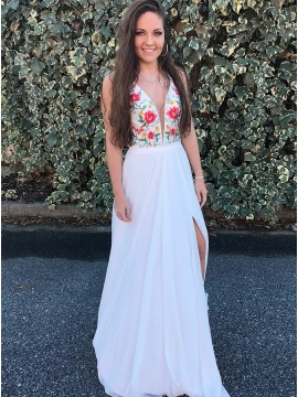 A-Line V-Neck Floor-Length White Chiffon Prom Dress with Embroidery
