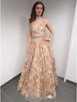 A-Line V-Neck Backless Floor-Length Champagne Lace Prom Dress