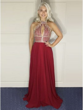 A-Line High Neck Floor-Length Burgundy Prom Dress with Sequins Keyhole