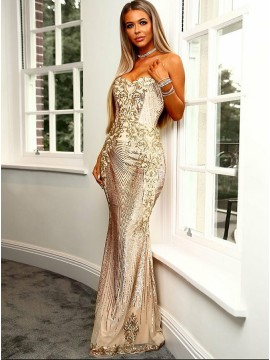 Mermaid Sweetheart Backless Champagne Prom Dress with Sequins