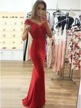 Mermaid V-Neck Cap Sleeves Red Prom Dress with Appliques